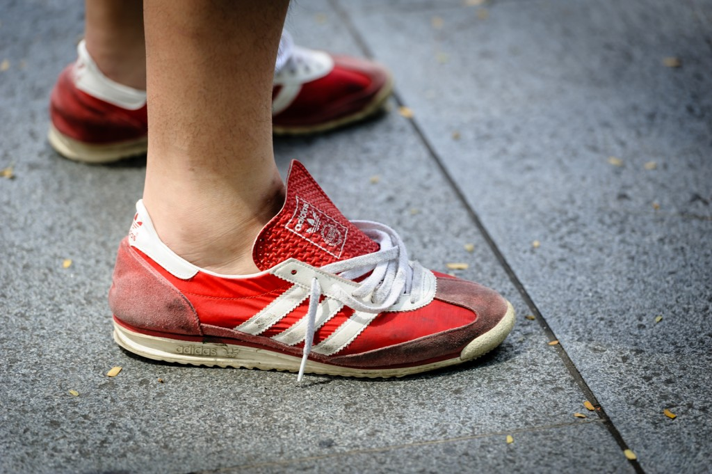 Street photography - Red adidas sneakers