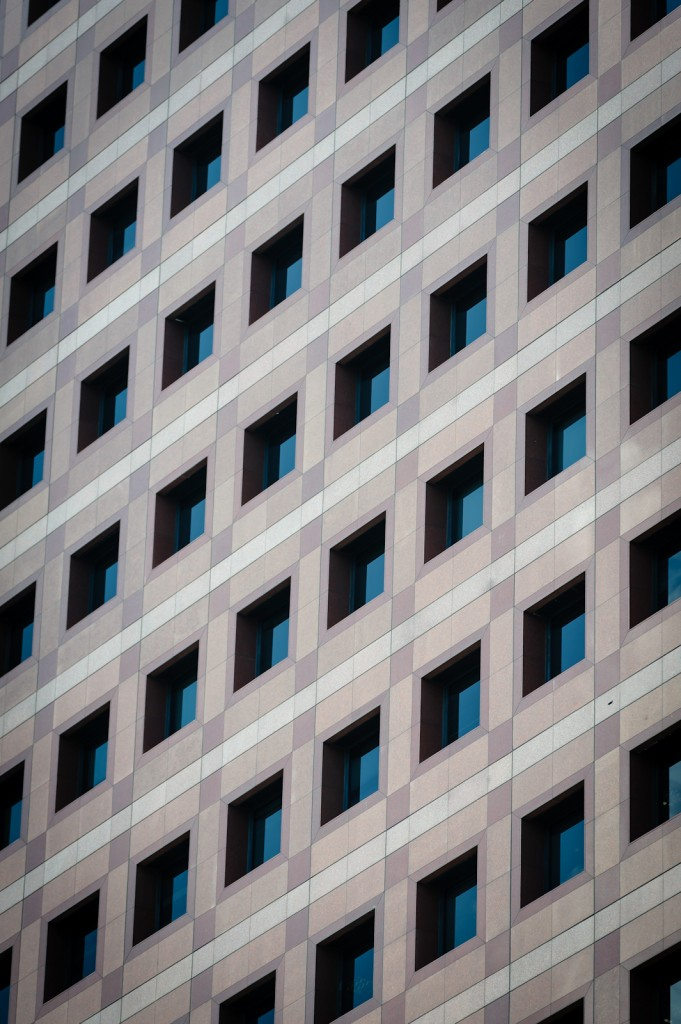 Street photography - Windows of a building in a repeating pattern
