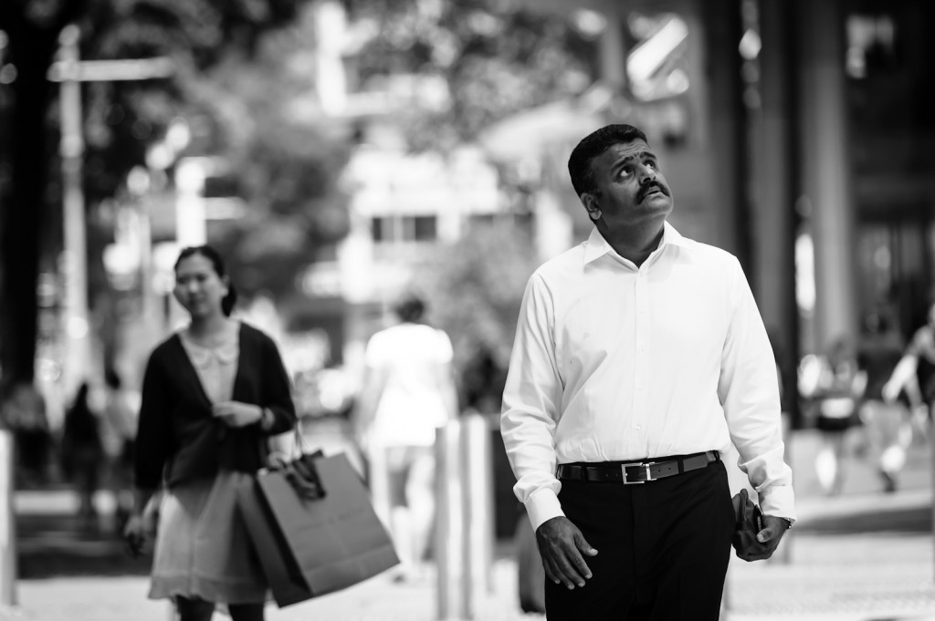 Street photography - Man looking up