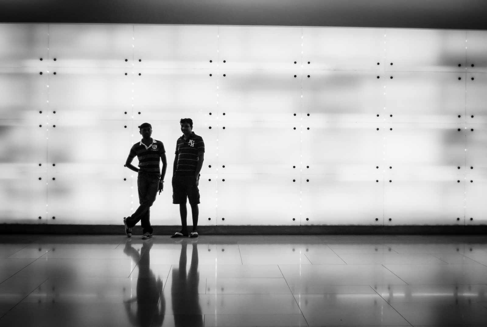 Silhouette of two guys