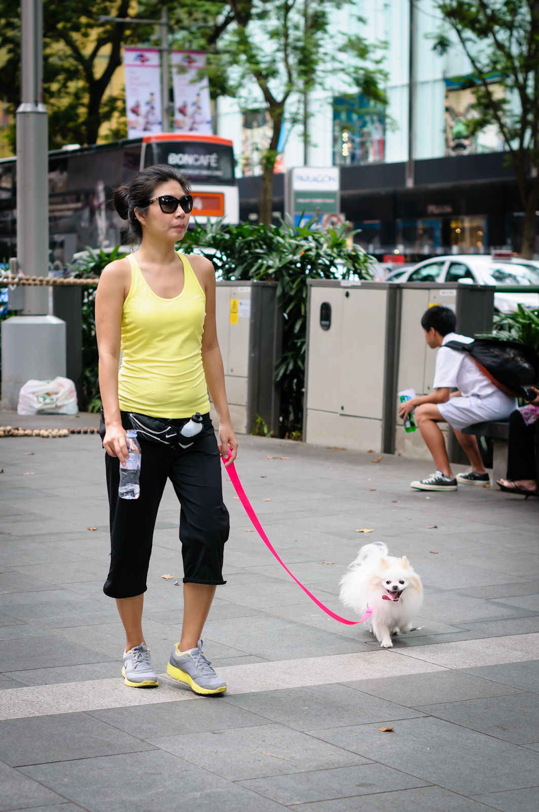 Street photography - Girl in yellow walking a dog in Orchard Road