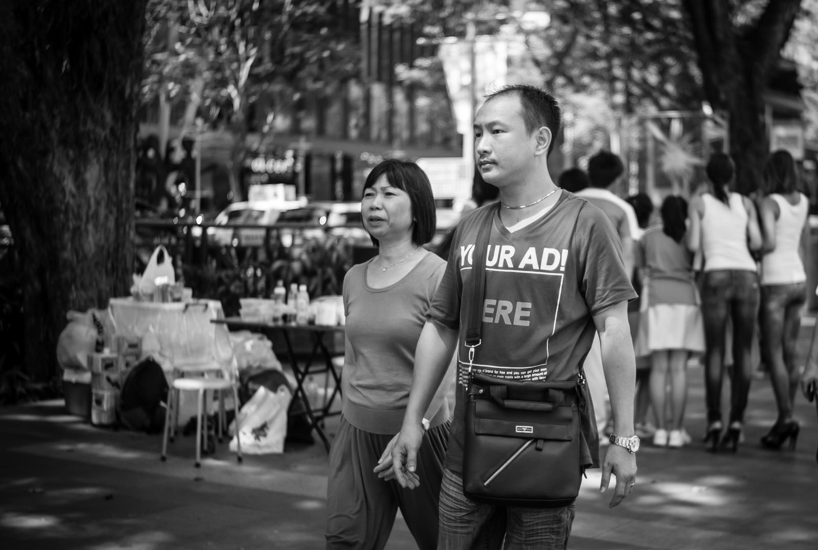 Street photography - man wearing a t-shirt that days
