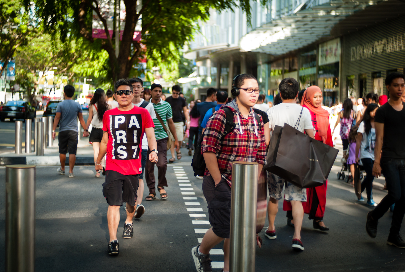 People crossing the street in Orchard Road