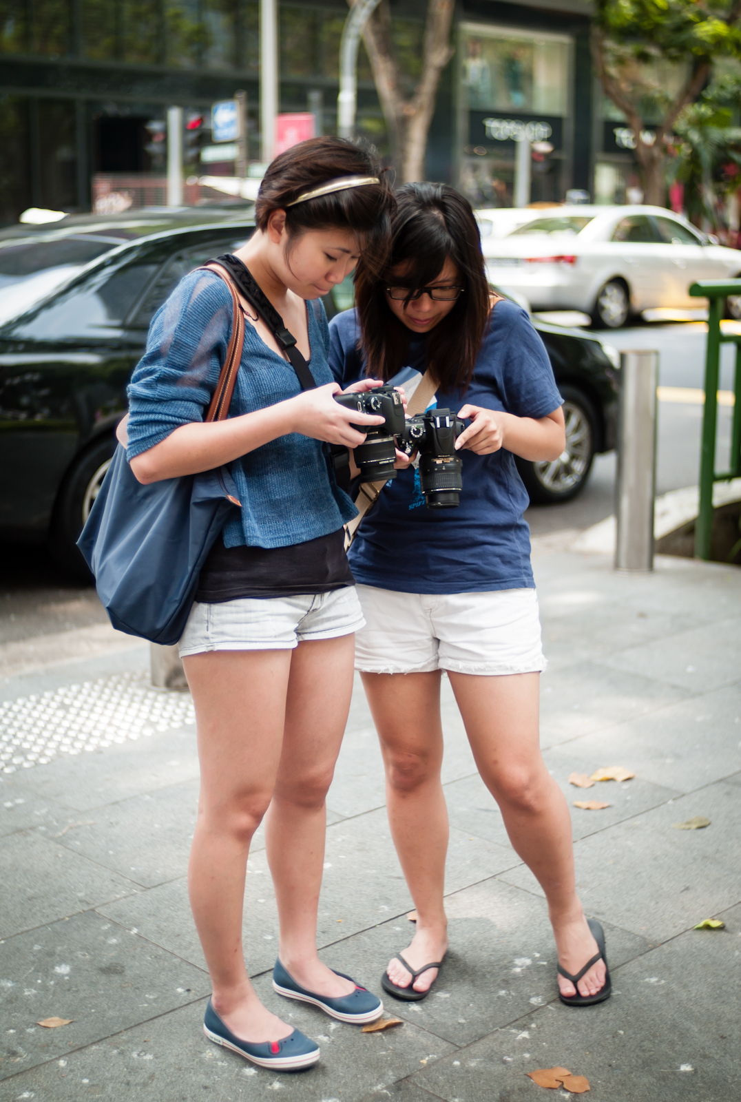 Two photographers checking their images on their camera screens