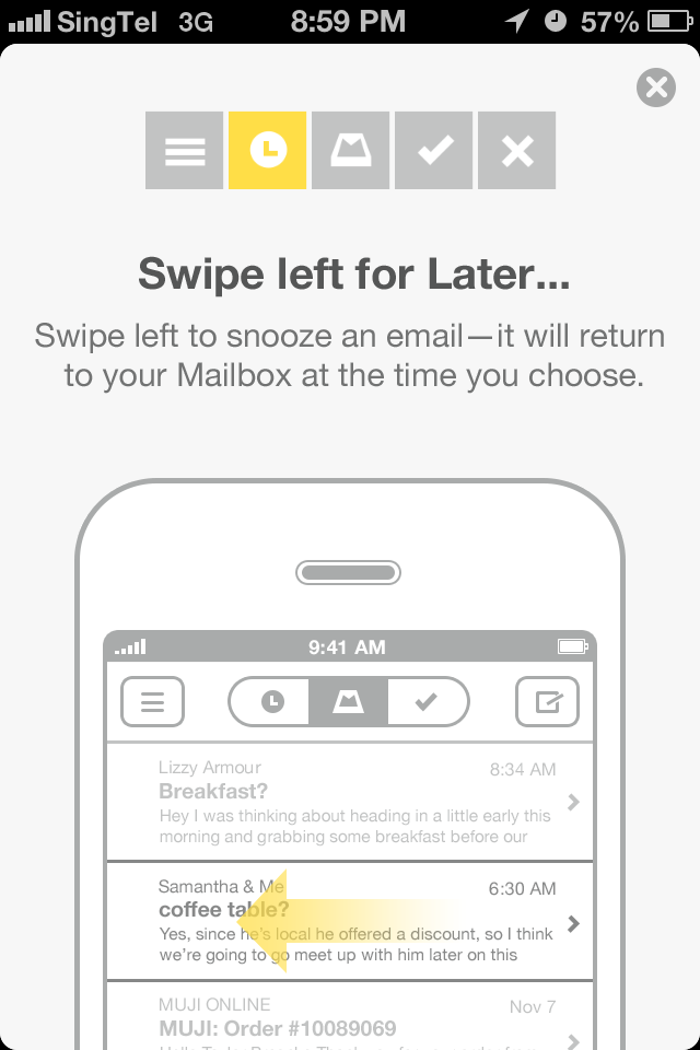 Mailbox swipe left