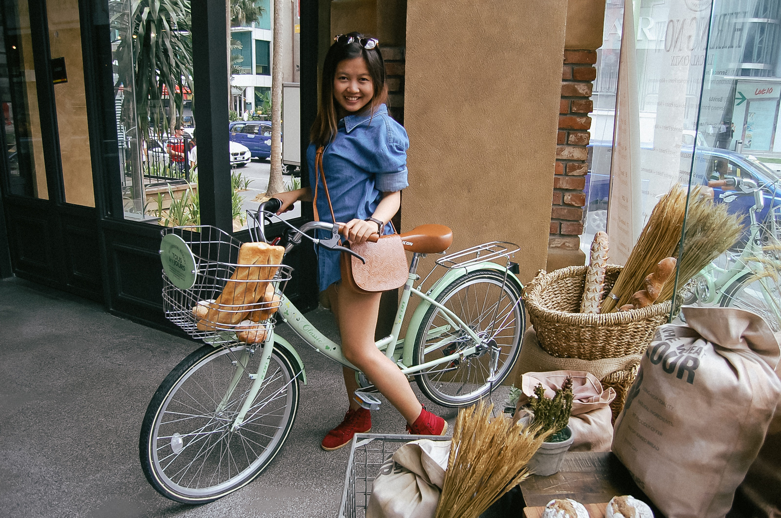 With the bicycle indoors