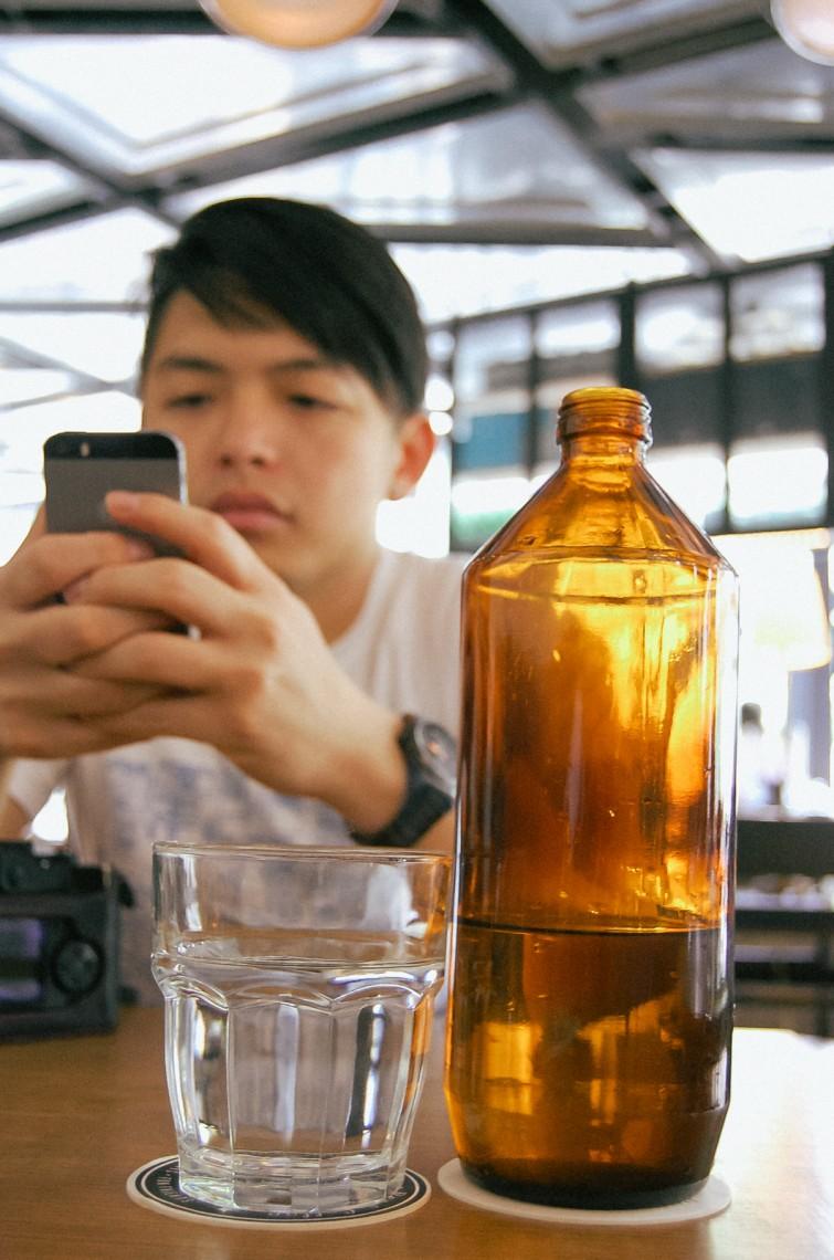 Amber bottled water